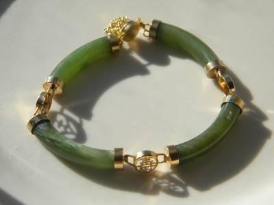 Vintage Chinese Green Jade Bracelet