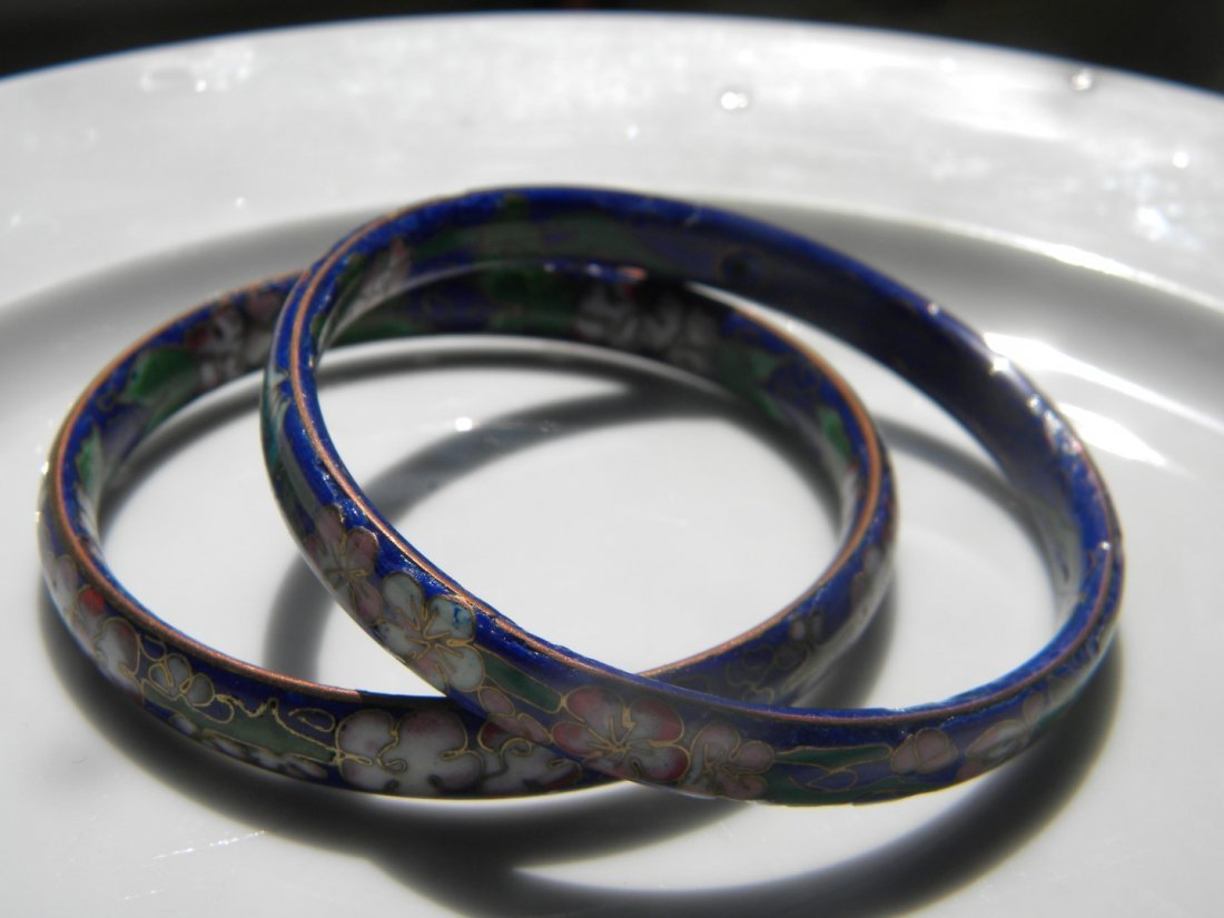 Pair of Chinese Blue Cloisonne Bracelets