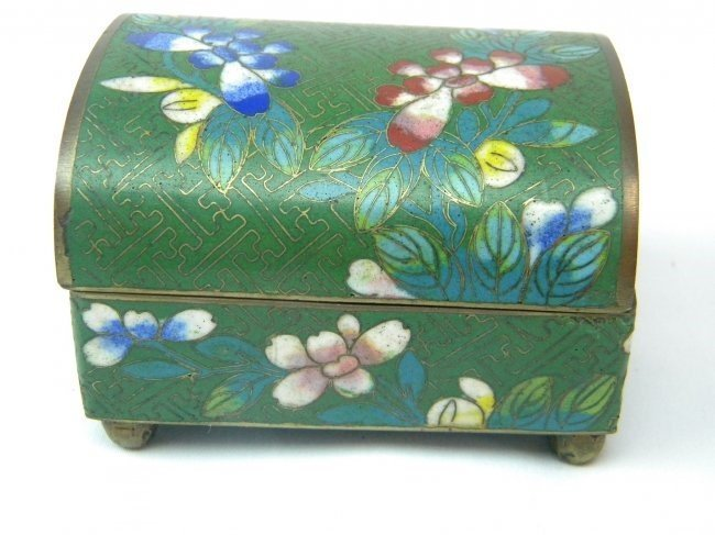 ANTIQUE CHINESE GREEN CLOISONNE SCOLAR'S BOX
