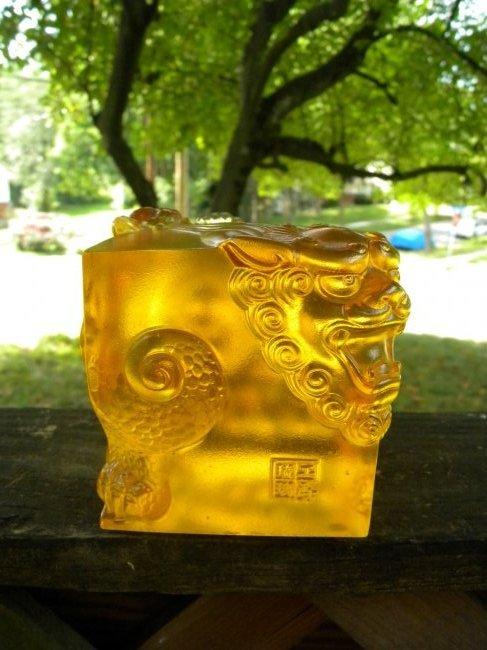 Chinese Glass Dragon Statue