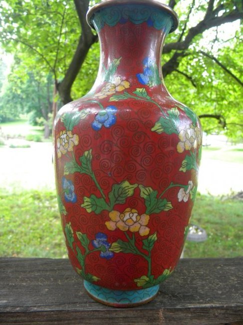 Antique Chinese Cloisonne Red Vase Marked China