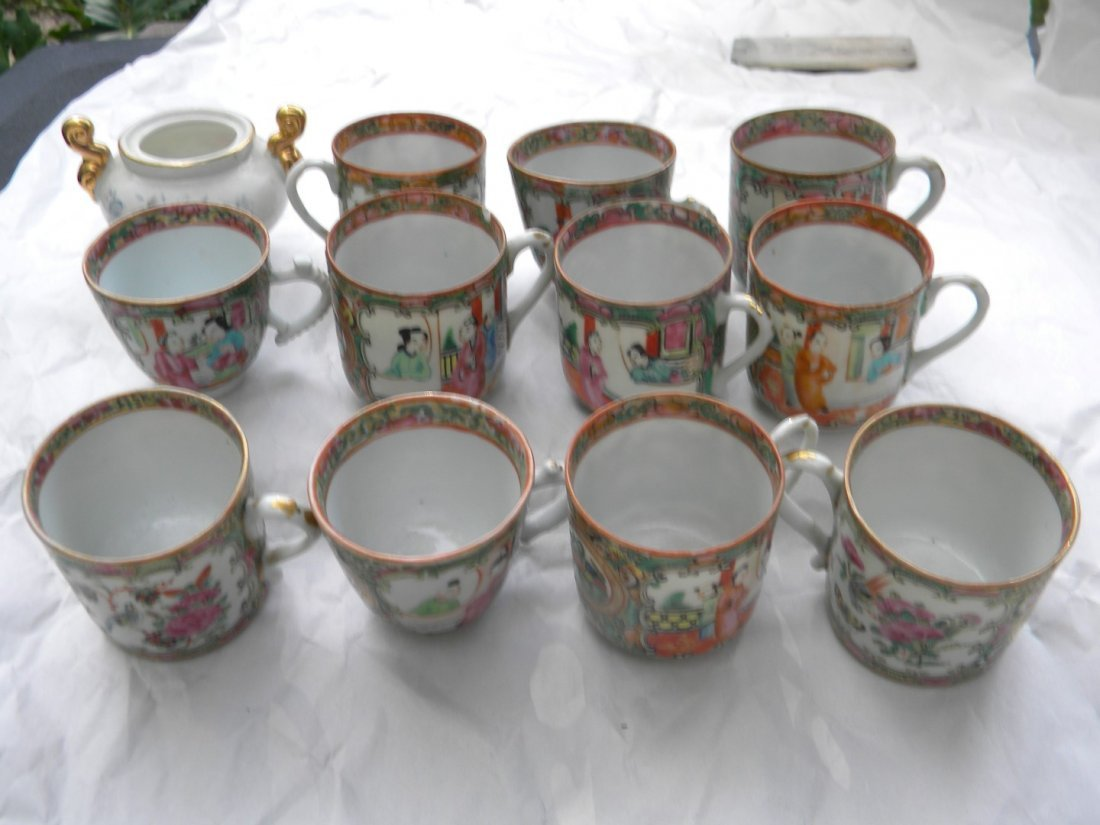 12 Pieces Antique Chinese Famille Rose Cups