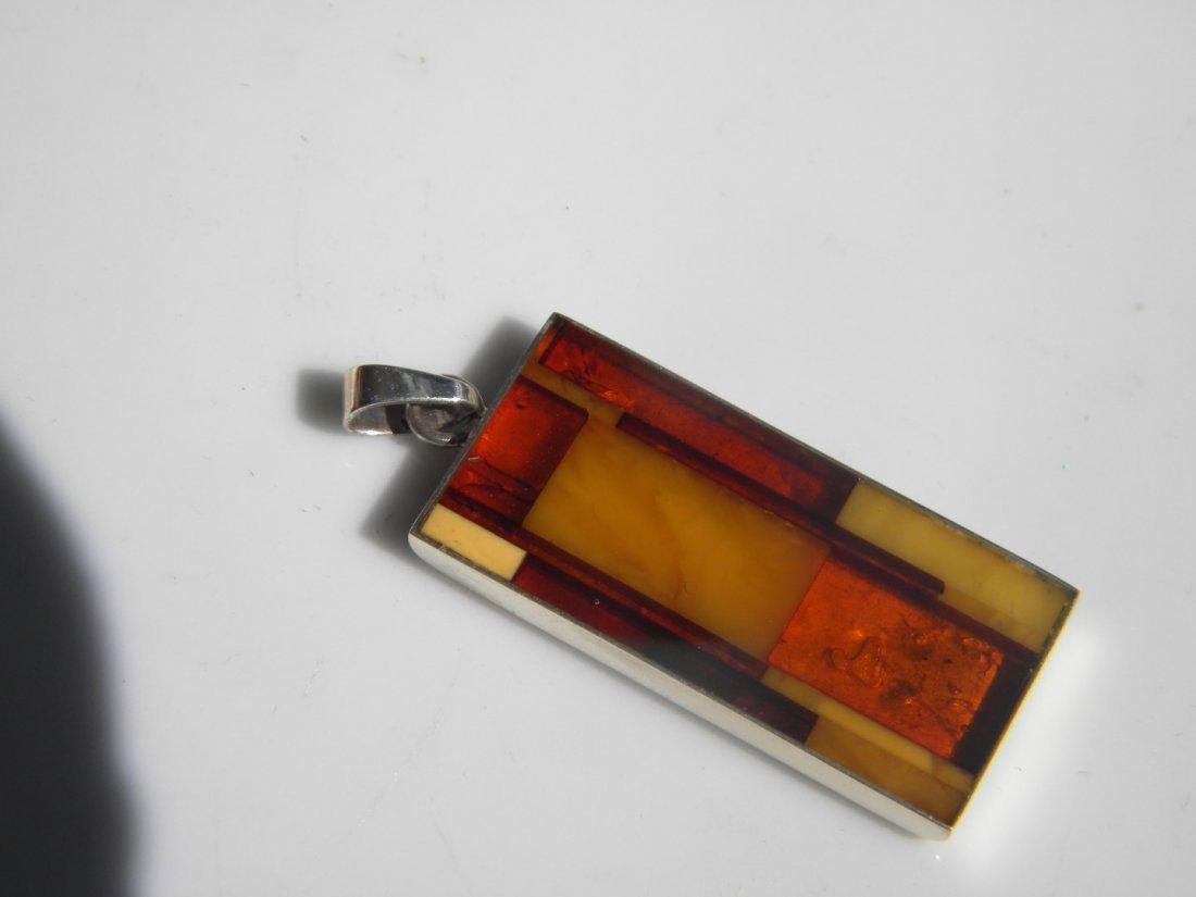 Natural Baltic Amber Silver Pendant
