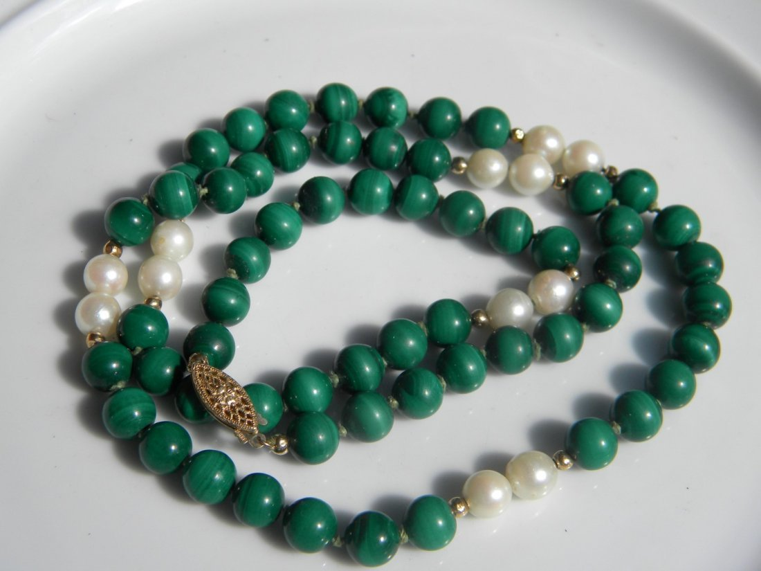 14K Gold Bead Pearl and Malachite Necklace