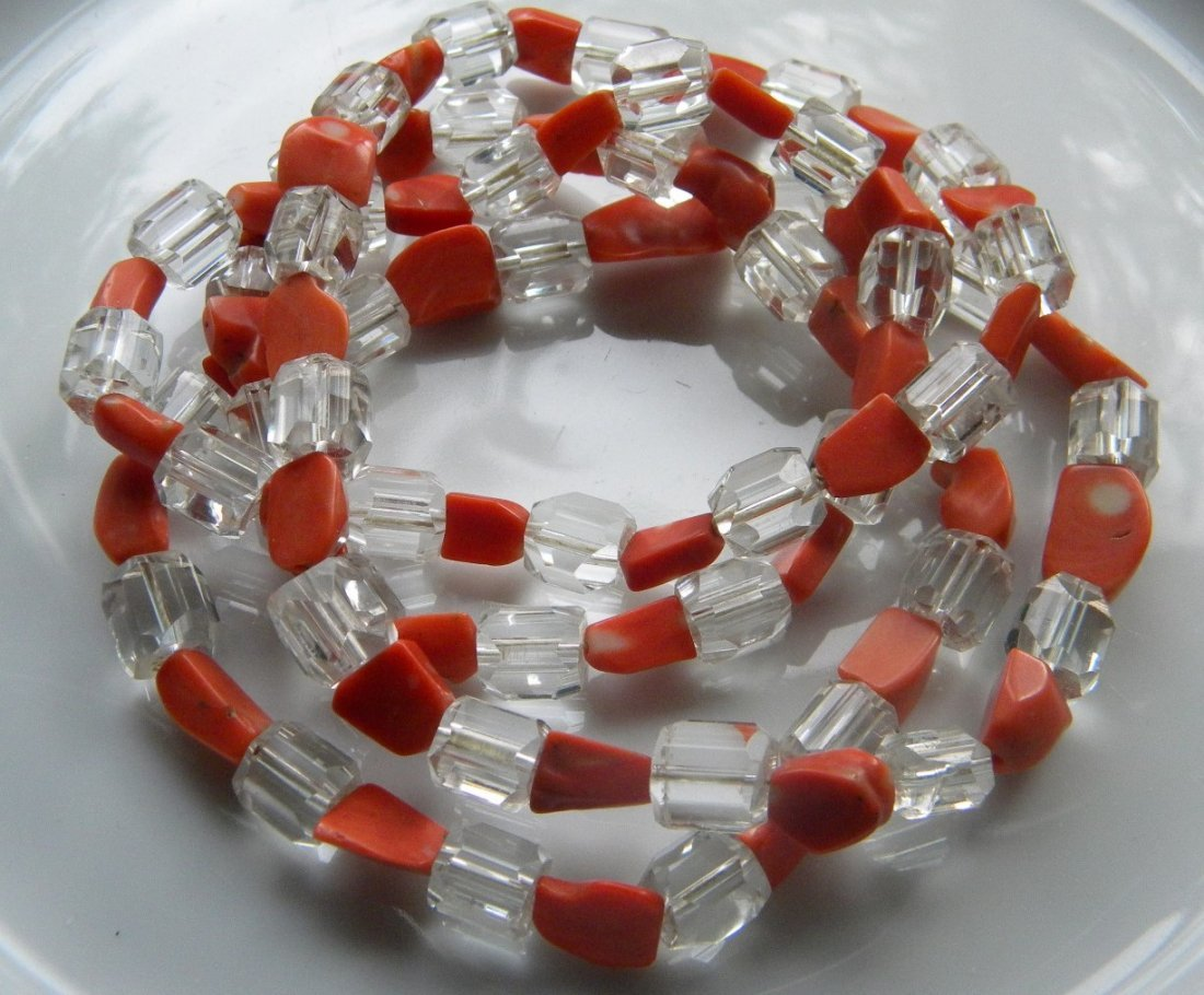 Antique Chinese Quartz and Red Coral Necklace