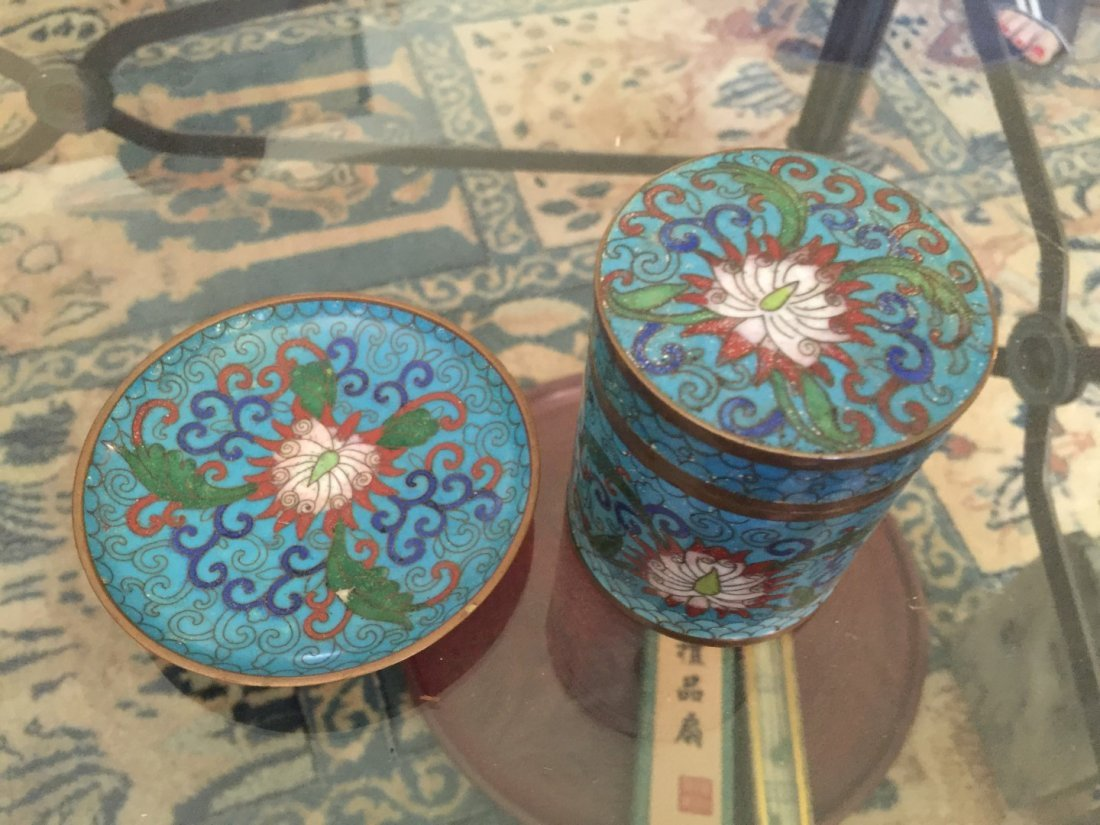 Set of Antique Chinese Cloisonne Plate and Covered Box