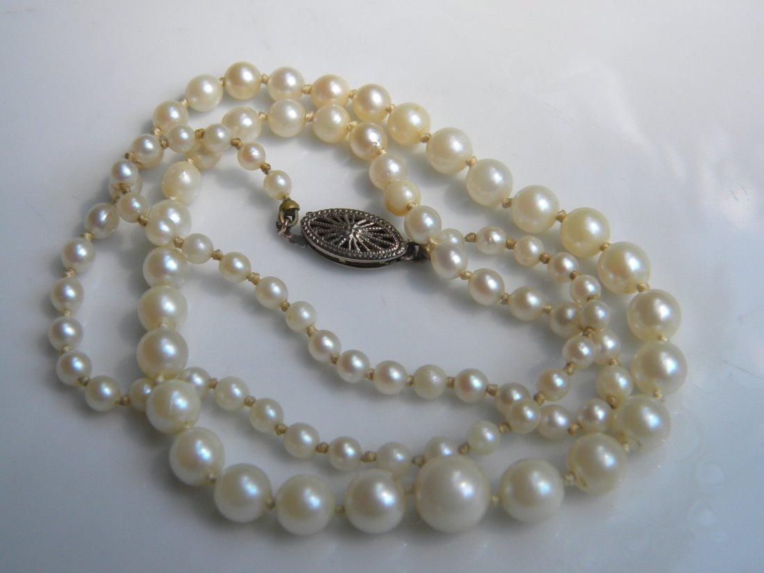 Antique Chinese Natural Pearl Necklace with Gold Clasp