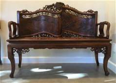 Antique Chinese bench love seat