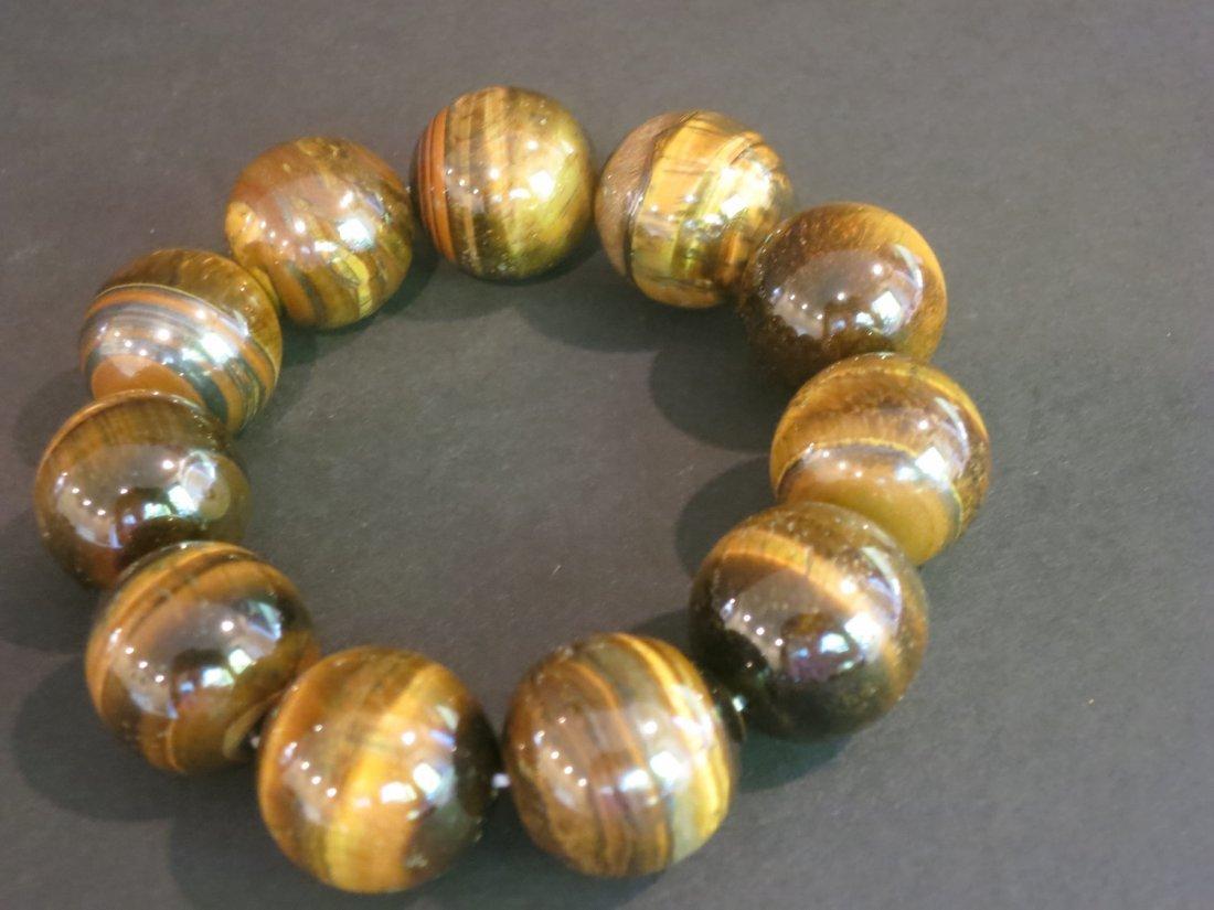 Large nature tiger eye beaded bracelet