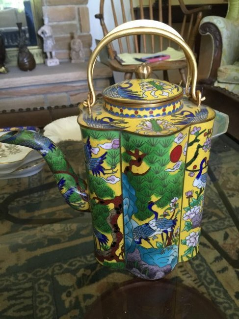 Chinese Cloisonne Teapot Marked Qianlong