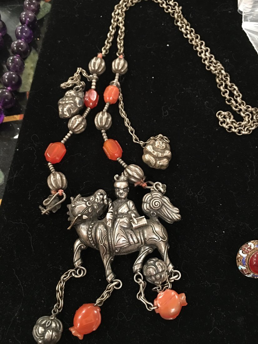 Chinese antique silver necklace
