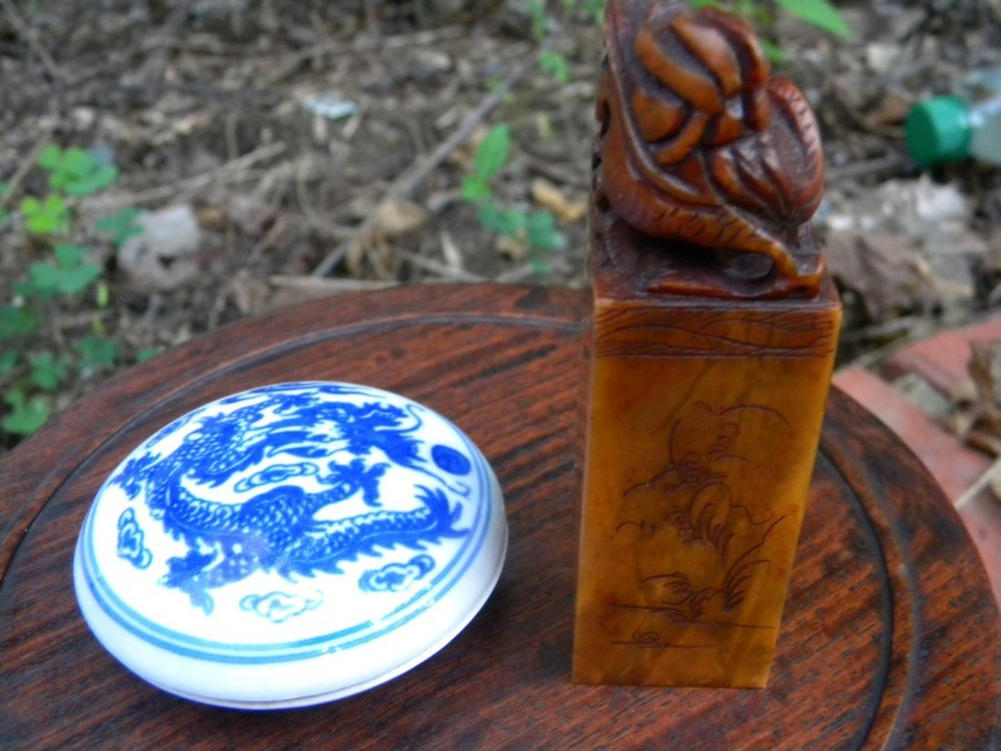 Vintage Chinese Stamp and Porcelain Ink Box