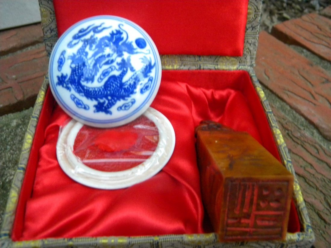 Vintage Chinese Stamp and Porcelain Ink Box - 3