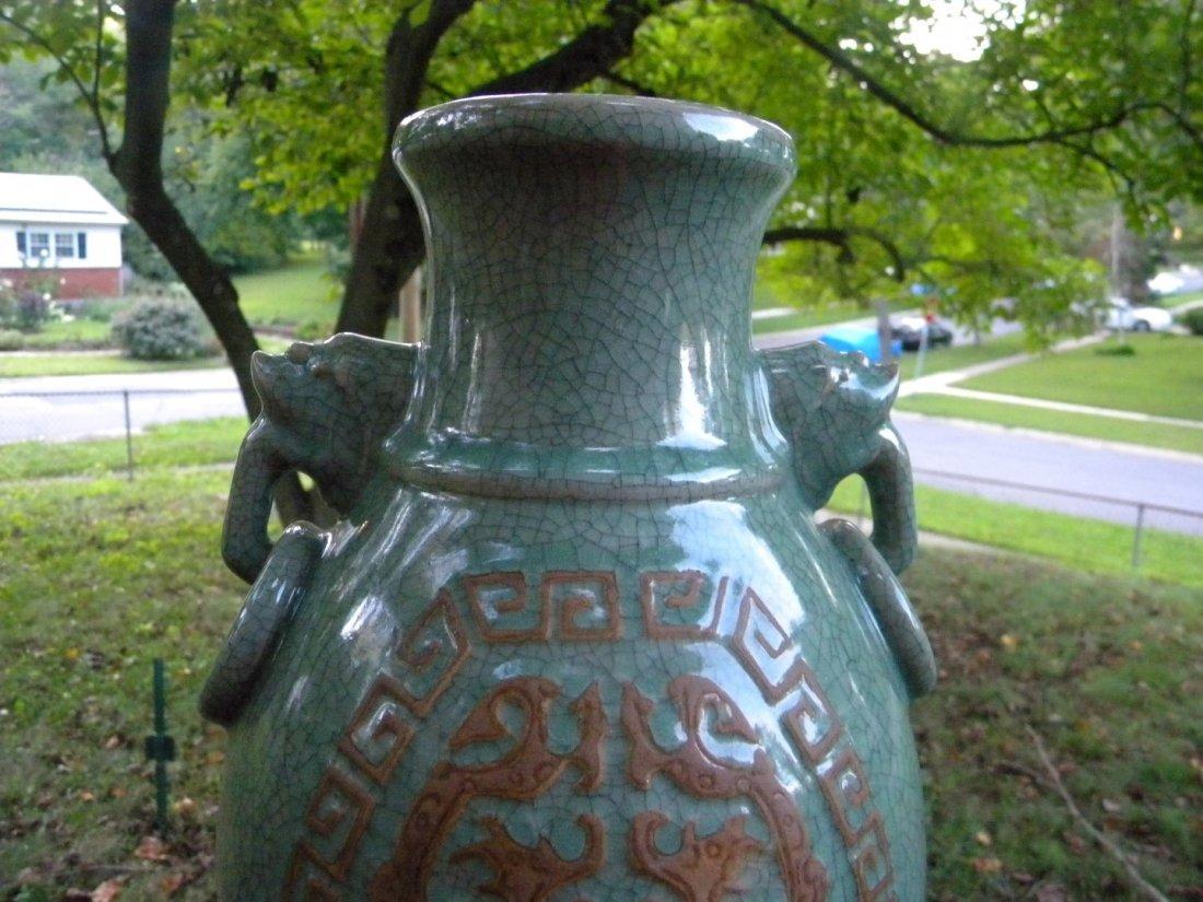 Antique Chinese Celadon Ge Style Vase - 3