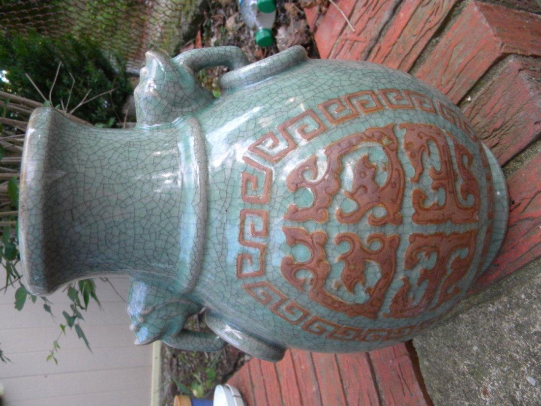 Antique Chinese Celadon Ge Style Vase - 7