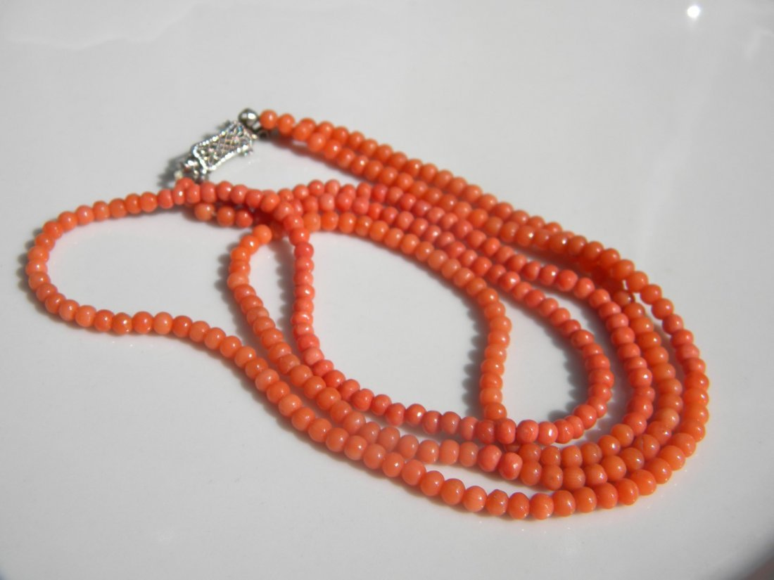 14K Gold Clasp Coral Necklace and Bracelet - 2