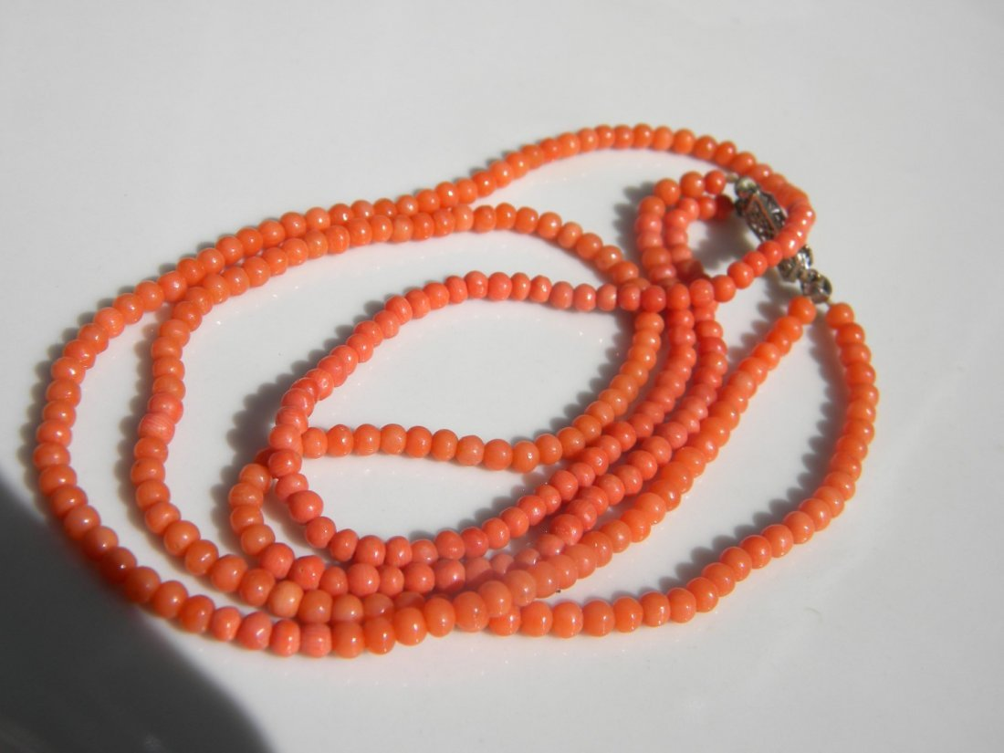 14K Gold Clasp Coral Necklace and Bracelet - 3