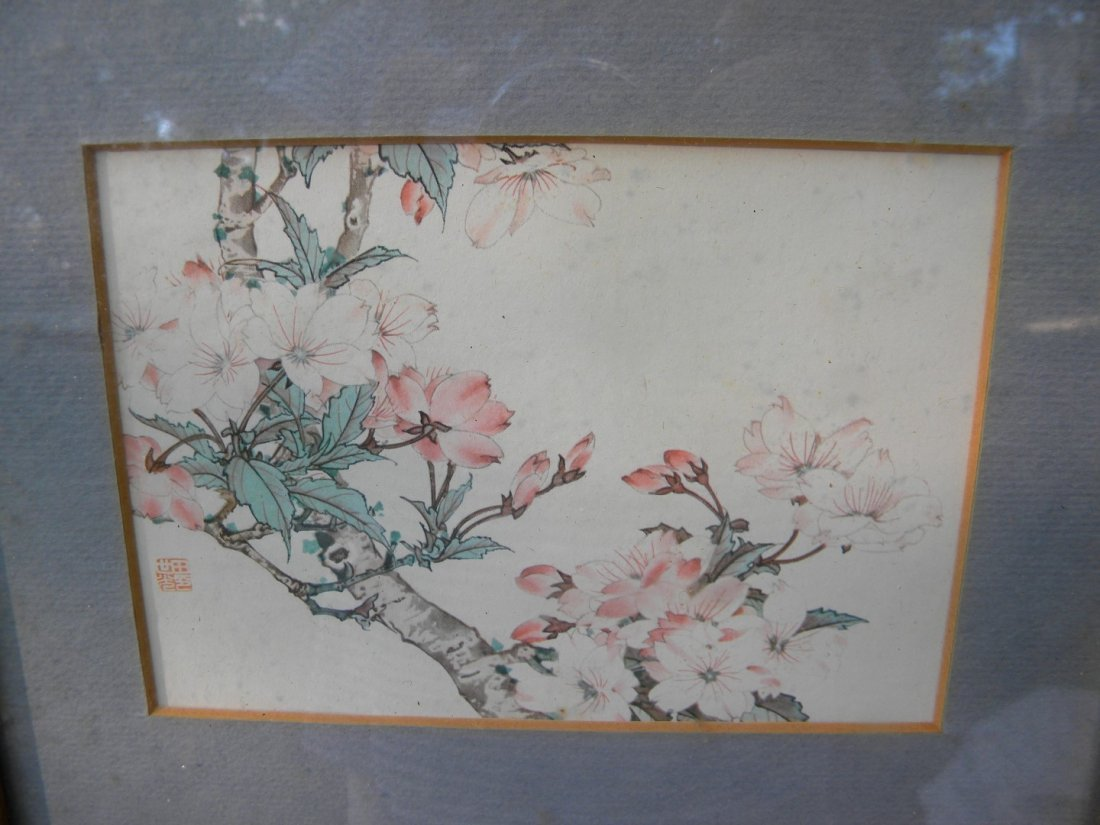 Antiue Chinese Flower Painting Framed