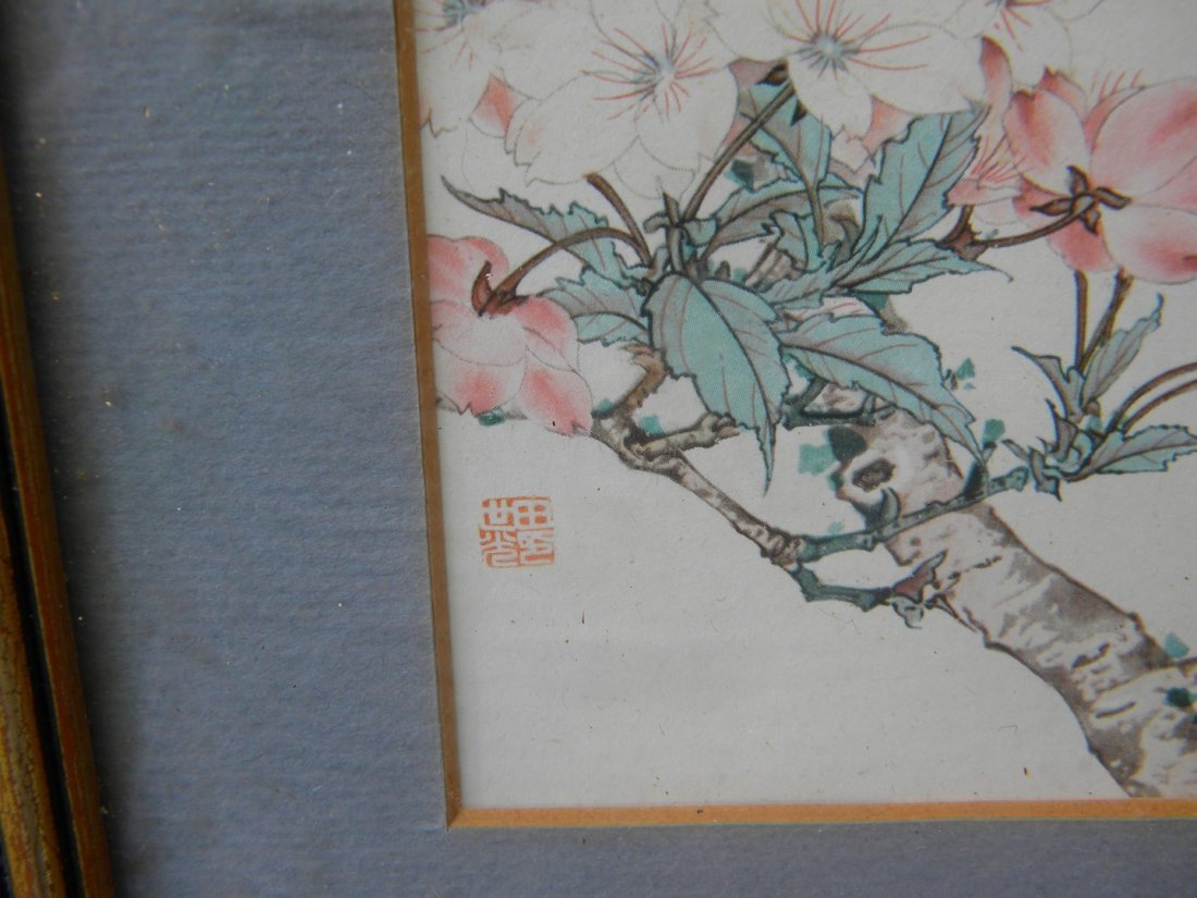Antiue Chinese Flower Painting Framed - 2