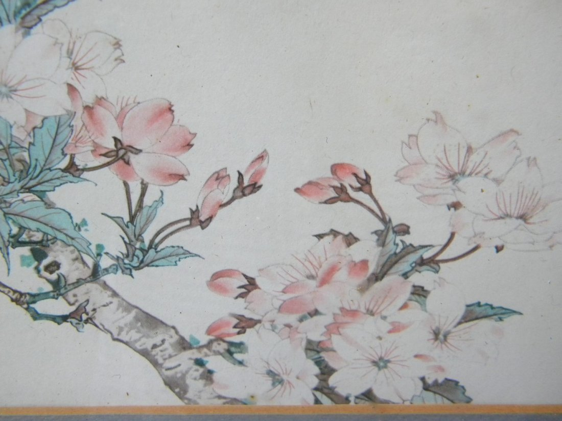 Antiue Chinese Flower Painting Framed - 3