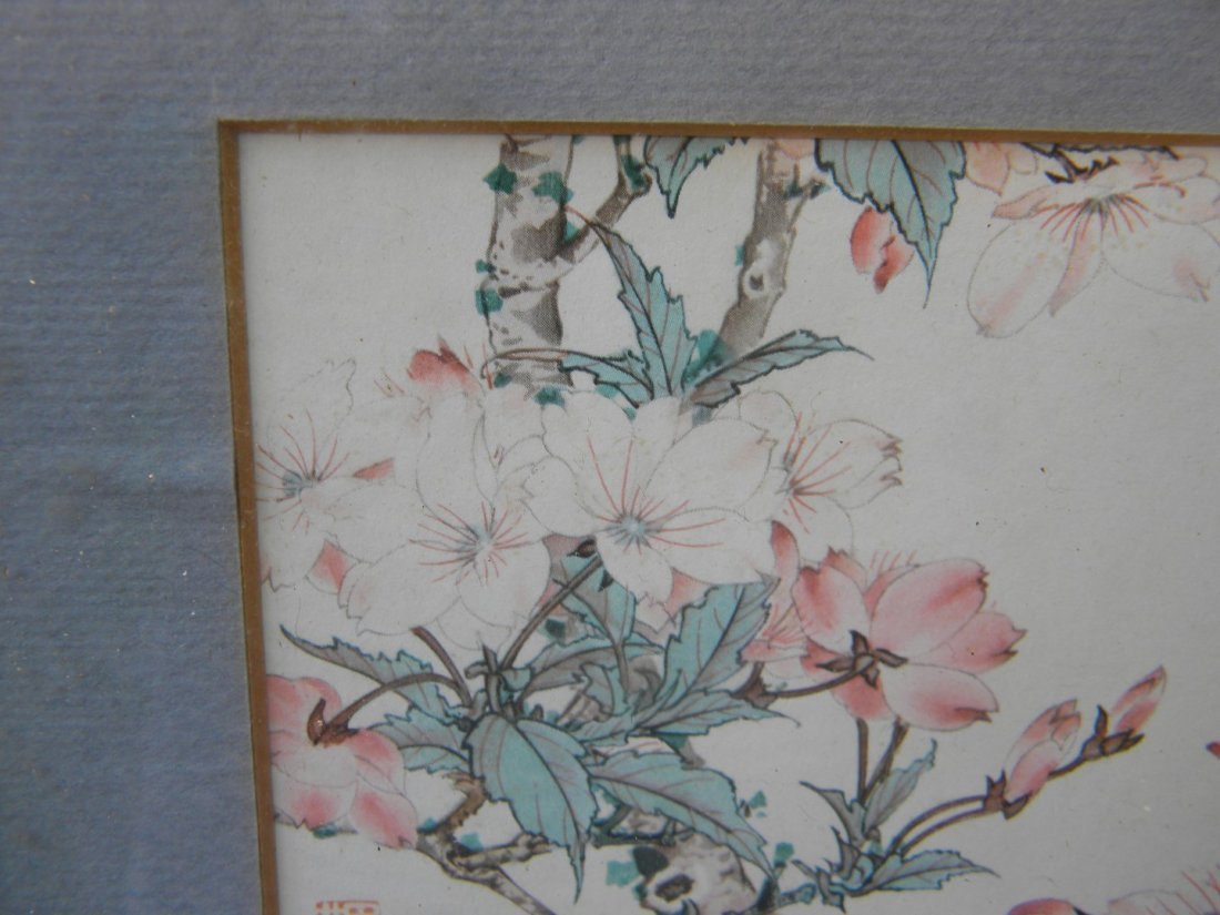 Antiue Chinese Flower Painting Framed - 4