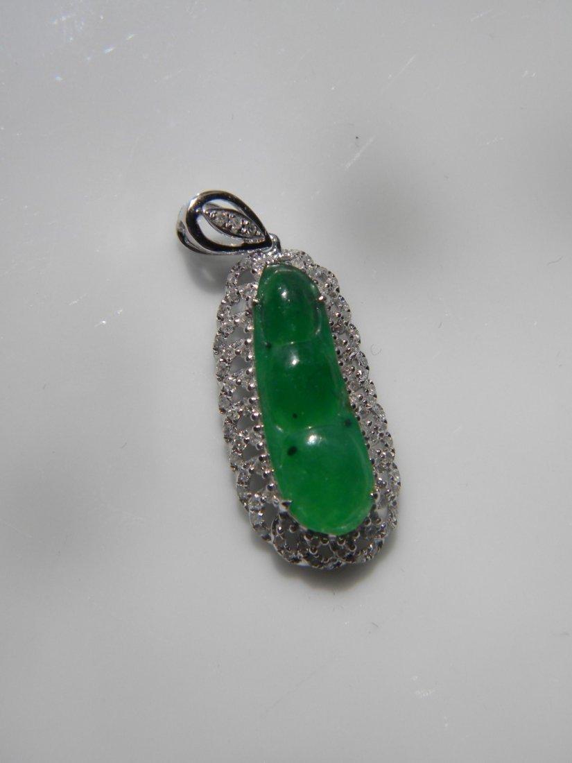 18K gold diamond natural green jadeite Pea Pendant - 2