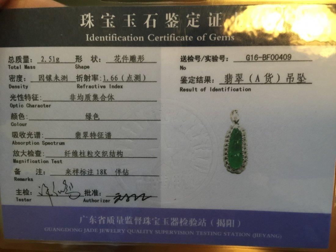 18K gold diamond natural green jadeite Pea Pendant - 5