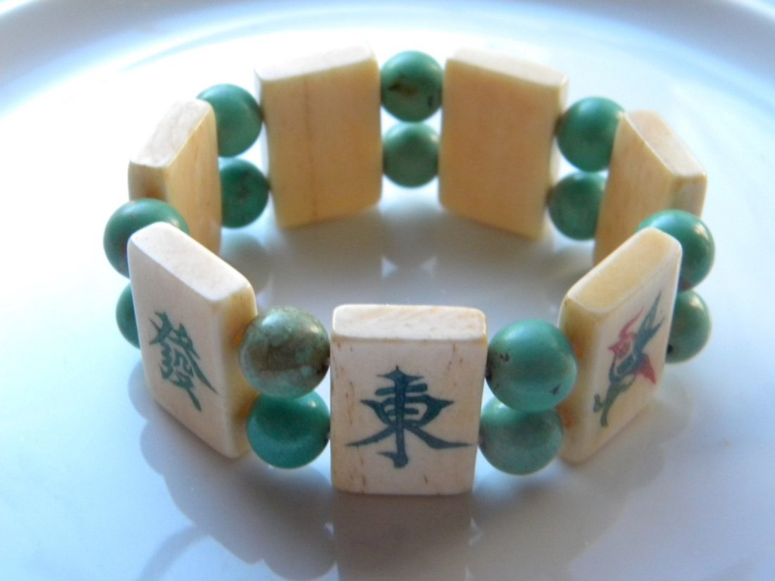 Vintage Chinese Turquoise Bead and Majiang Bracelet