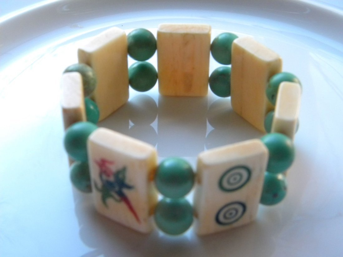 Vintage Chinese Turquoise Bead and Majiang Bracelet - 2