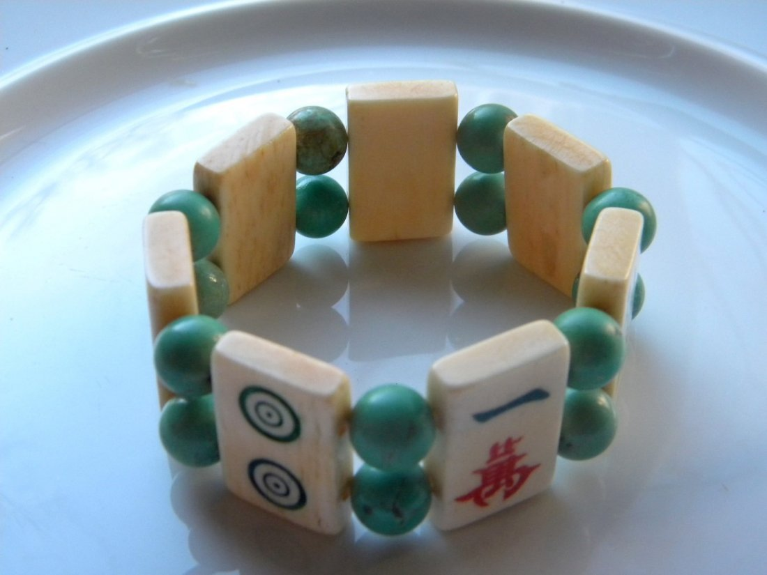 Vintage Chinese Turquoise Bead and Majiang Bracelet - 3