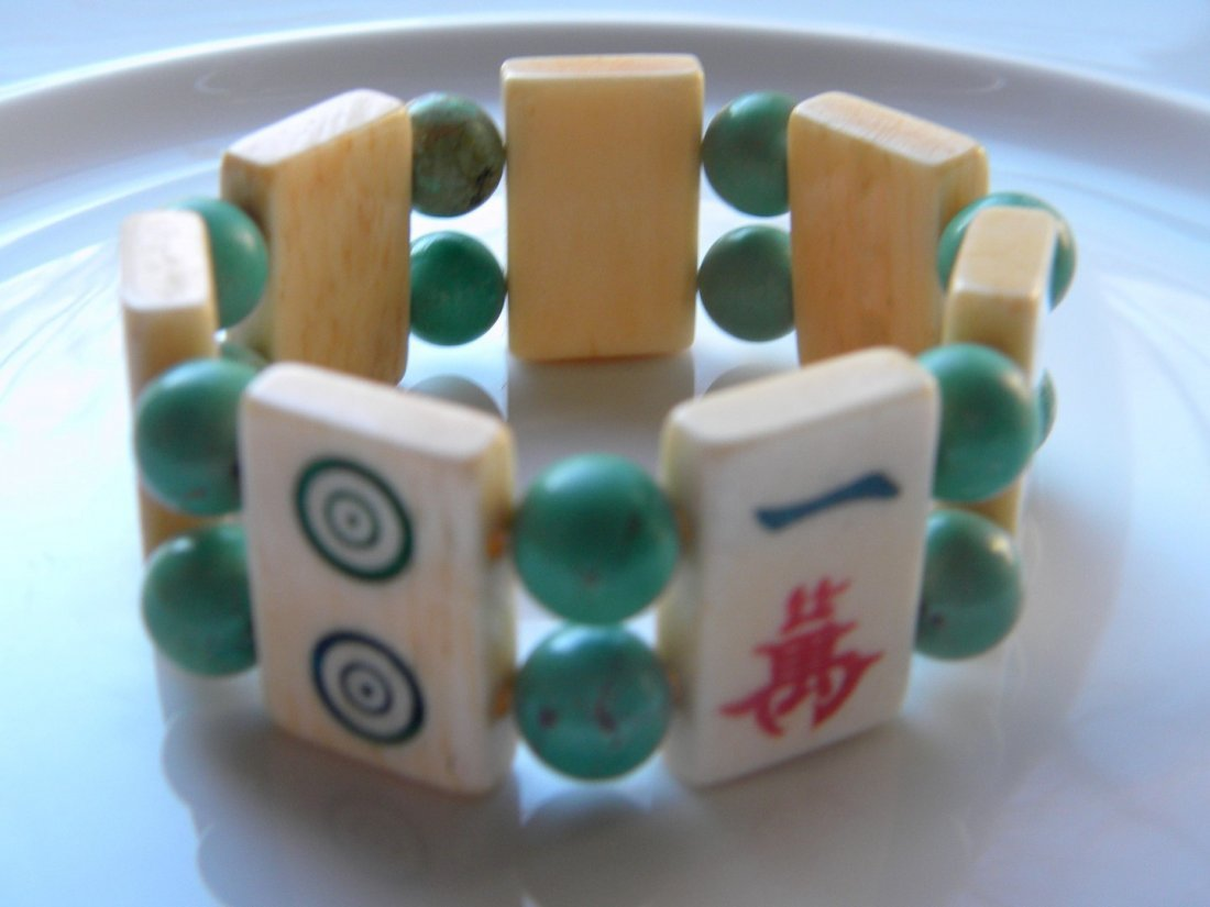 Vintage Chinese Turquoise Bead and Majiang Bracelet - 4