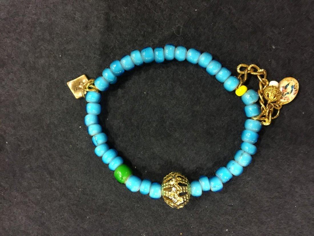 Antique Blue Beads Bracelet - 2