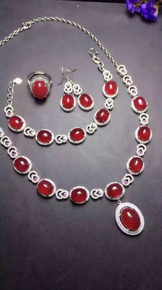 Set of Silver Red Stone Ring, Earrings and Bracelet