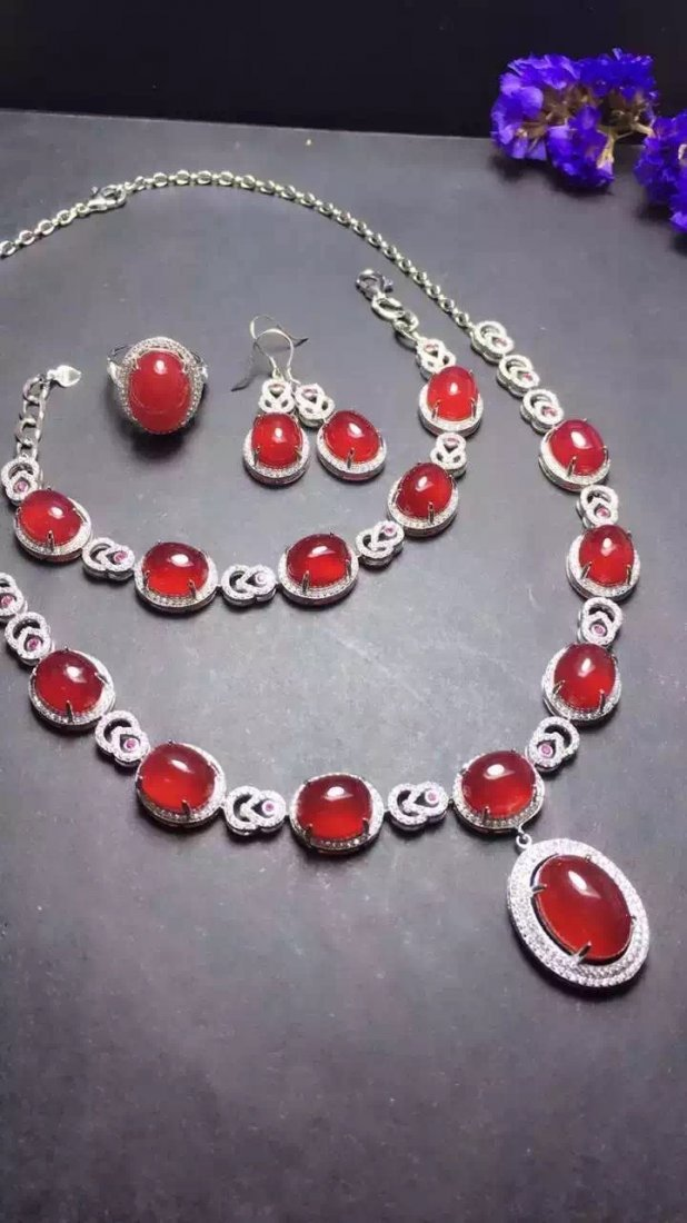 Set of Silver Red Stone Ring, Earrings and Bracelet - 2