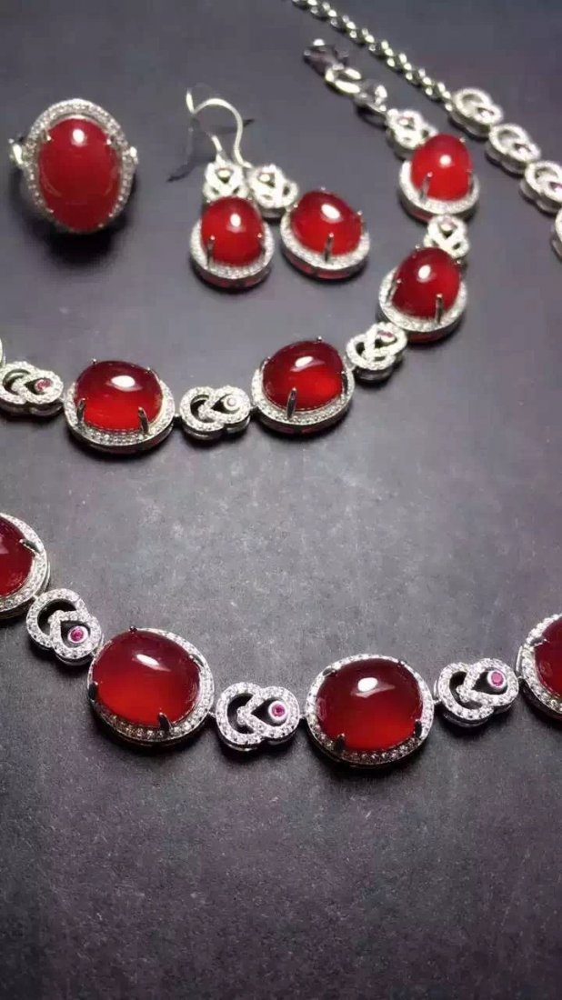 Set of Silver Red Stone Ring, Earrings and Bracelet - 3