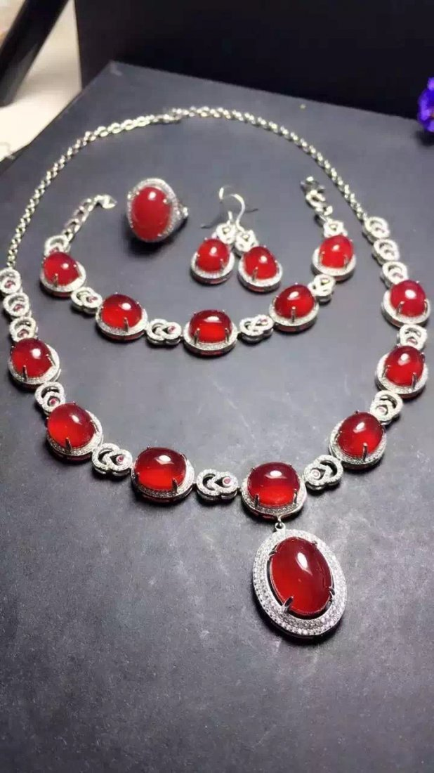 Set of Silver Red Stone Ring, Earrings and Bracelet - 4