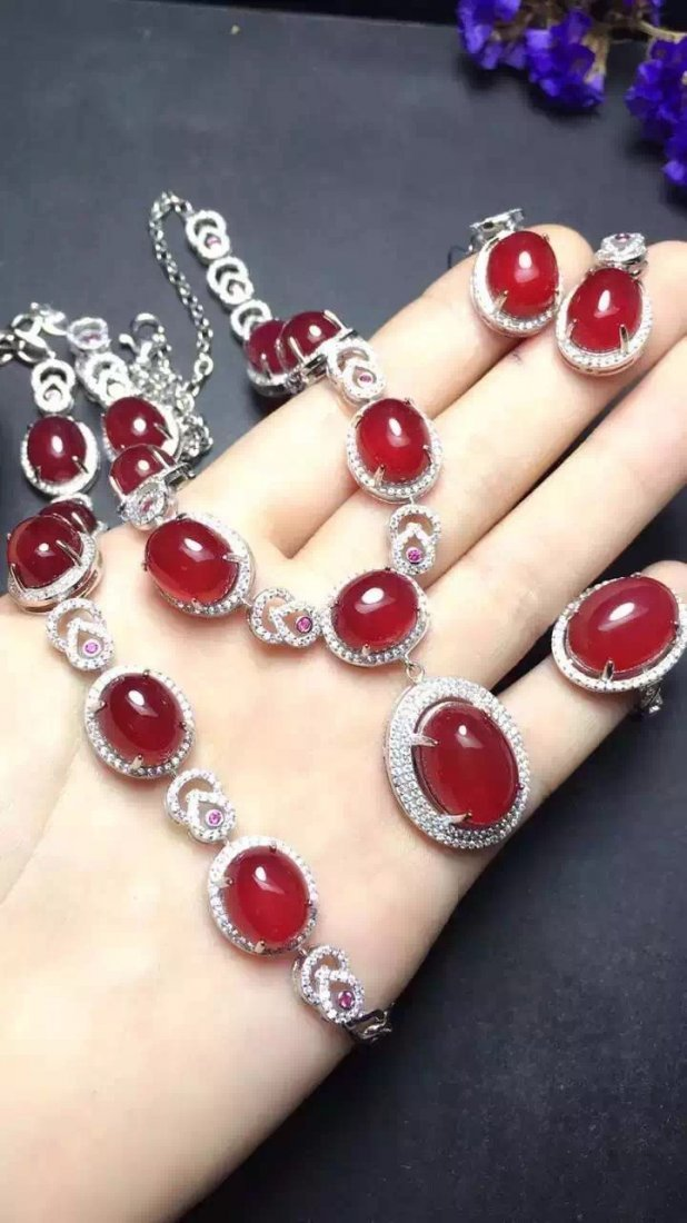 Set of Silver Red Stone Ring, Earrings and Bracelet - 5