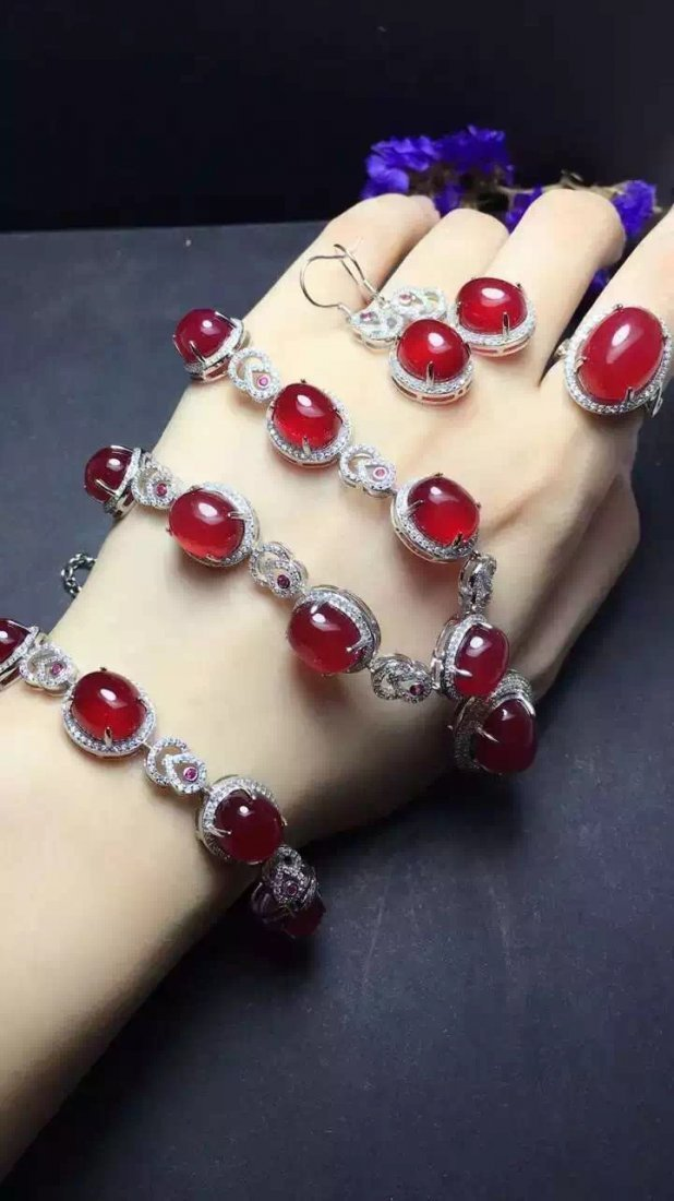 Set of Silver Red Stone Ring, Earrings and Bracelet - 6