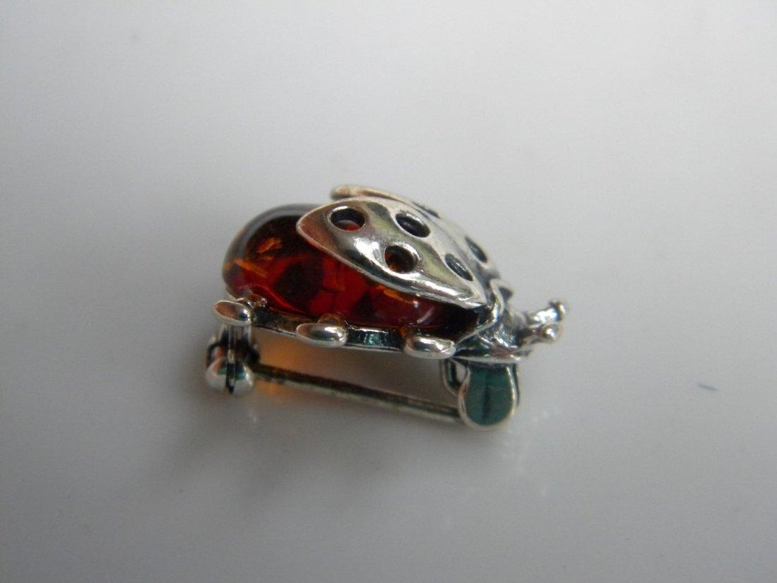 Silver Amber Ladynug Pendant - 2
