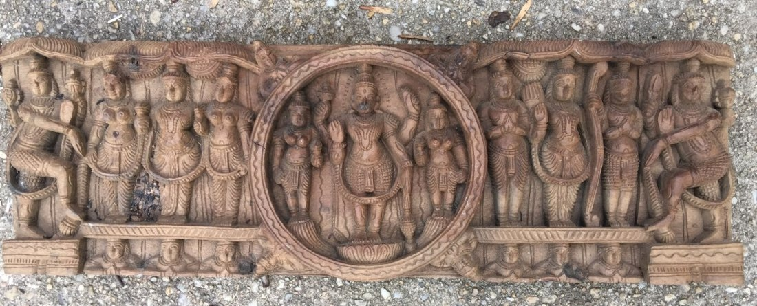 Antique Wood Panel with Buddha Carving