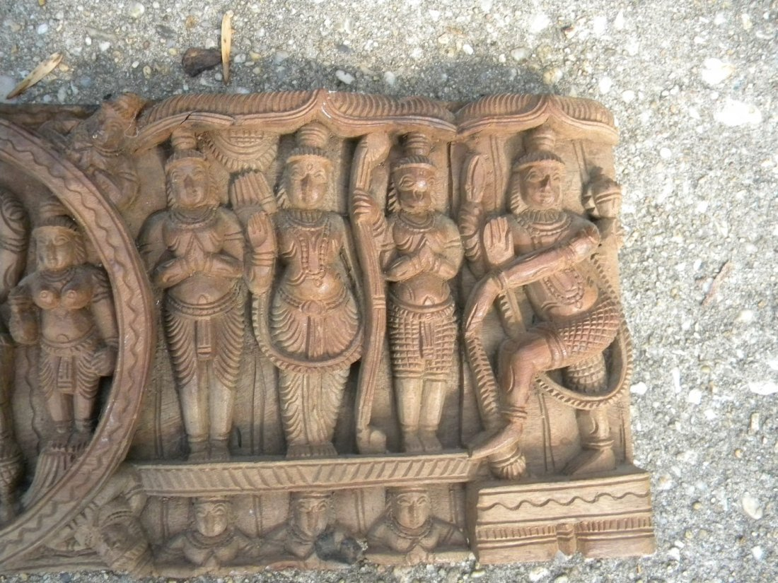 Antique Wood Panel with Buddha Carving - 5