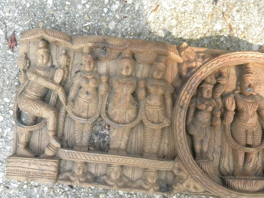 Antique Wood Panel with Buddha Carving - 6