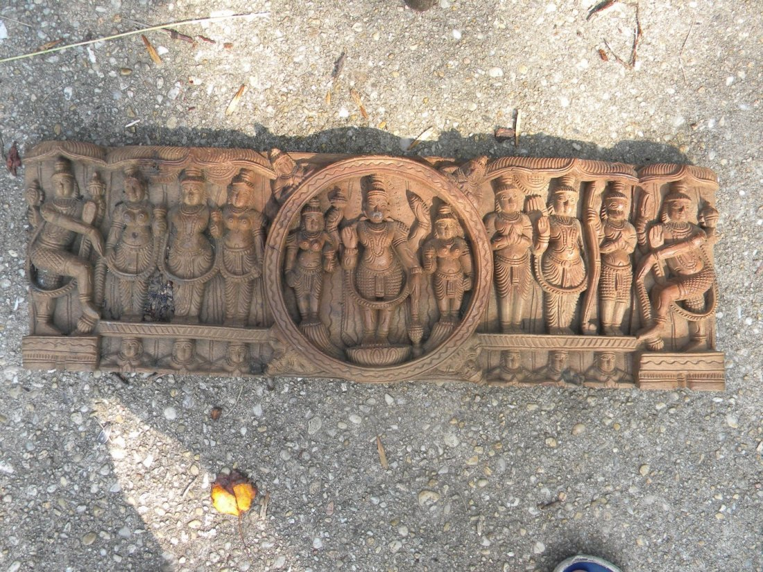 Antique Wood Panel with Buddha Carving - 7
