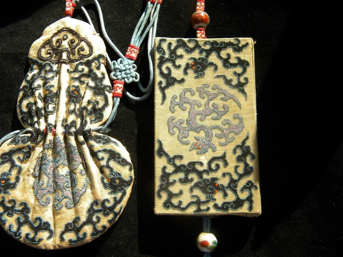 Three Pieces Set Antique Chinese Embroidery - 2