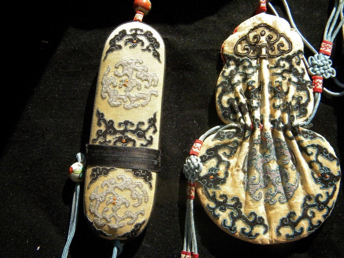 Three Pieces Set Antique Chinese Embroidery - 3