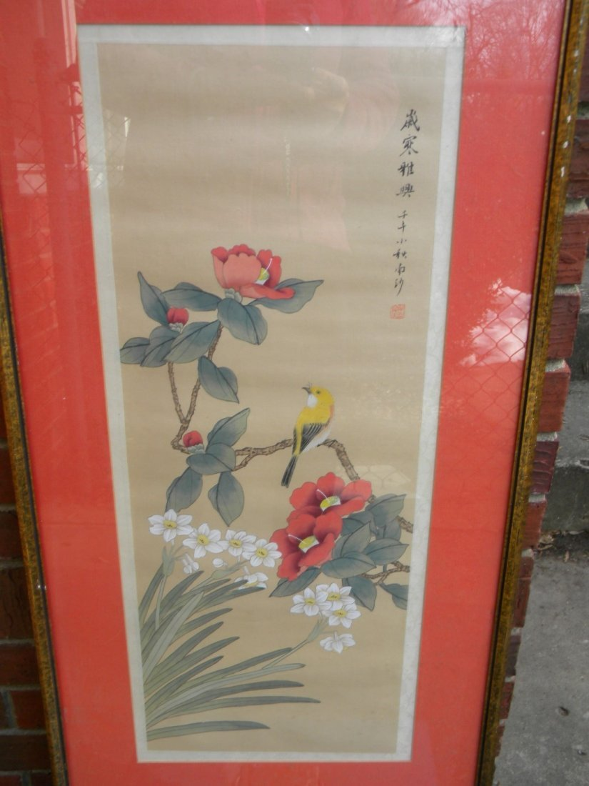 Framed Chinese Flower Painting