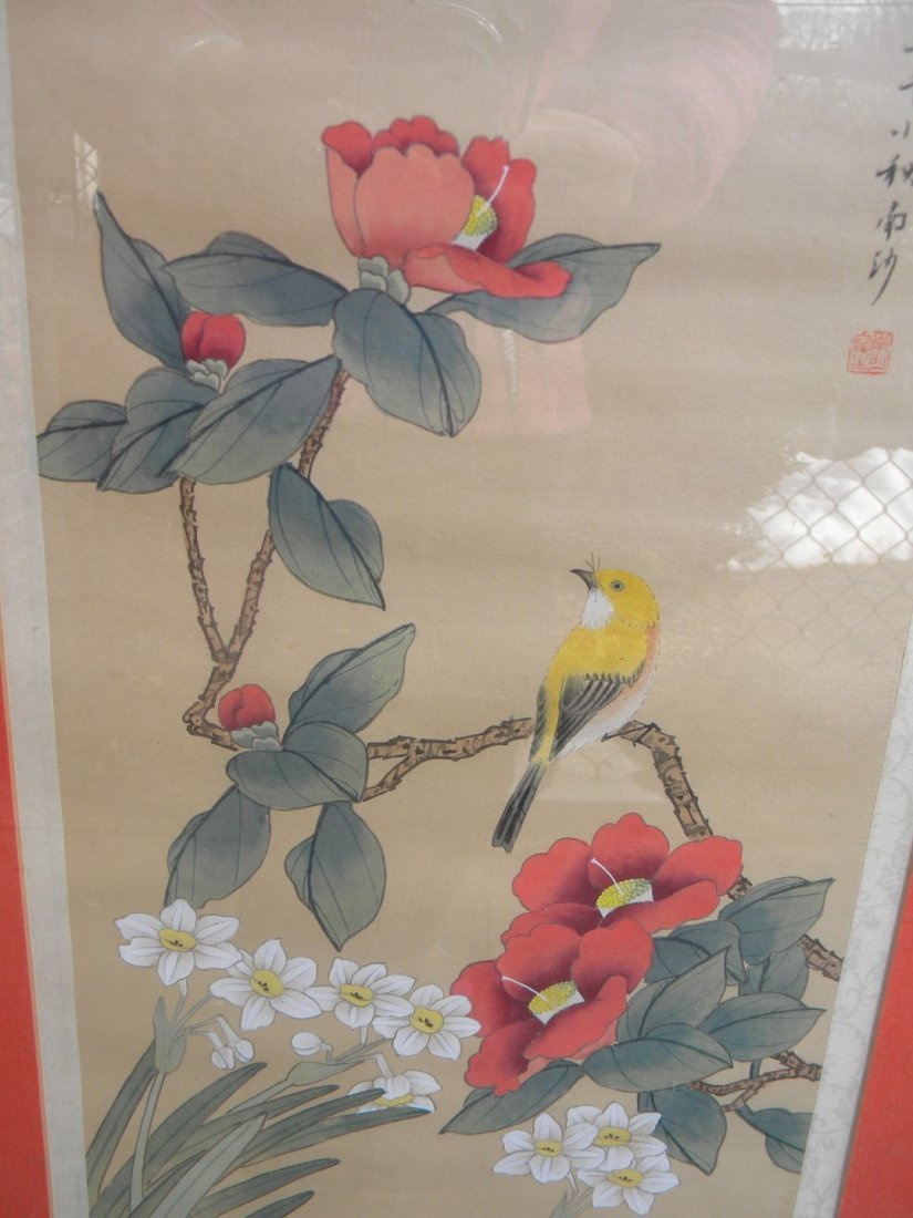 Framed Chinese Flower Painting - 5