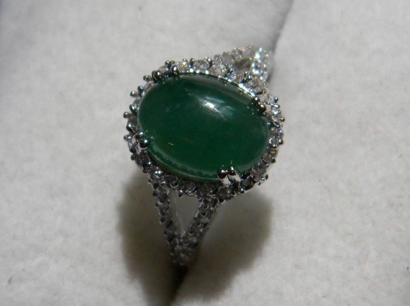 Natural Grade A Icy Green Jadeite Ring