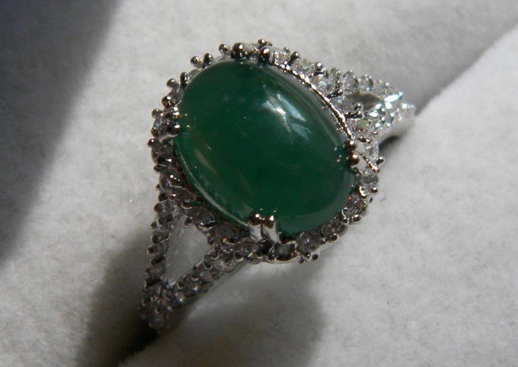 Natural Grade A Icy Green Jadeite Ring - 2