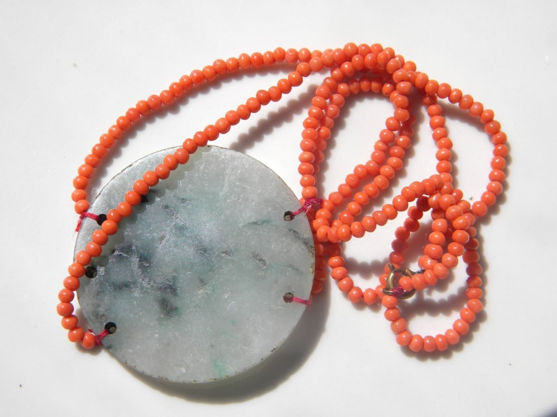 Antique Chinese Green Jadeite and Coral Necklace